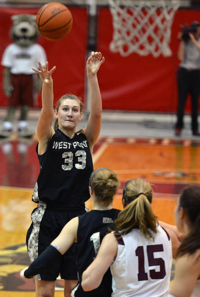 Army's Aimee Oertner (33) shoots the ball during a women's basketball game against Lafayette held at by Kirby Sports Center on Wednesday. Aimee Oertner is from Slatington, Pa. and is a graduate from Northern Lehigh High School.