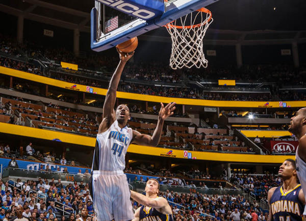 Magic forward Andrew Nicholson (44) goes up to the basket during fourth quarter action of a game against the Indiana Pacers at Amway Center in Orlando, Fla. on Wednesday January 16, 2013.
