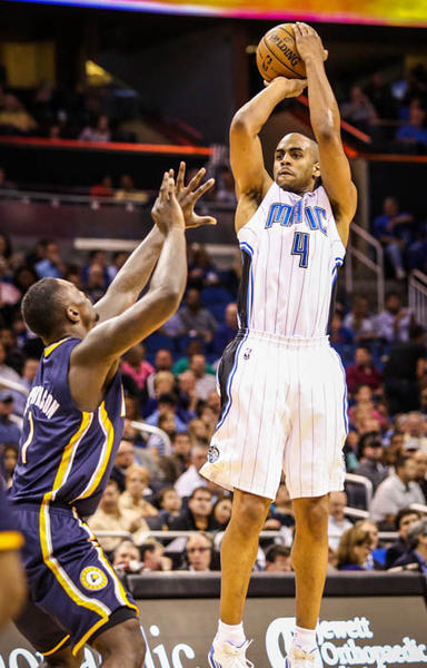 Magic guard Arron Afflalo (4) shoots over Indiana's Lance Stephenson (1) during second quarter action of a game against the Indiana Pacers at Amway Center in Orlando, Fla. on Wednesday January 16, 2013.