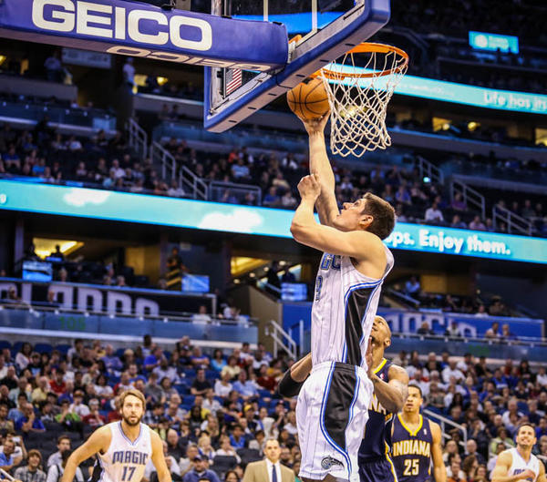 Magic center Nikola Vucevic (9) goes up to the basket during second quarter action of a game against the Indiana Pacers at Amway Center in Orlando, Fla. on Wednesday January 16, 2013.