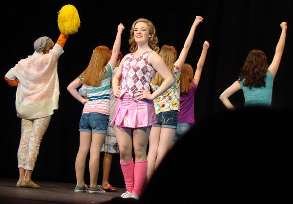 "Colleen Coleman as Elle, with Delta Nu sorority girls in her cheerleading Harvard admissions number, ""What You Want,"" in the Children's Theatre of Annapolis production of ""Legally Blonde."""