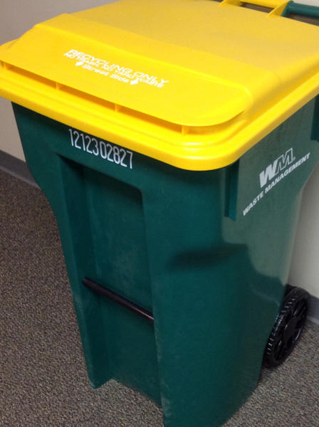 Waste Management rolled out more than 4,000 big green recycling cans like this one over the last several weeks in the Borough of Waynesboro (Pa.). The intent of the can - recycling only - is clearly stated on the top of the bright yellow lid.