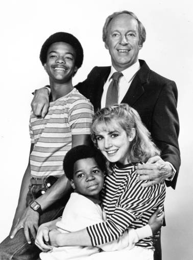 "Conrad Bain, who played Philip Drummond, poses with his ""Diff'rent Strokes"" family: Willis (Todd Bridges, left),  Arnold (Gary Coleman) and Kimberly (Dana Plato)."