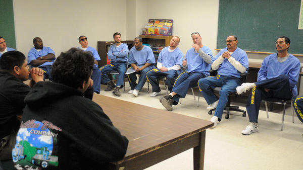 Calipatria State Prison inmates discuss their experiences with Calipatria High School students Wednesday.