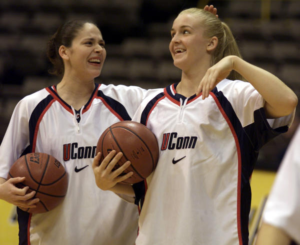 UConn Women's Basketball wins eighth Big East Championship. Here is Sue Bird and Shea Ralph during warm-ups of a regular season game.