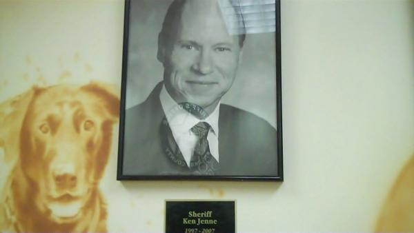 This photo of former Sheriff Ken Jenne hangs on the wall on the fifth floor at BSO. It doesn't mention that his next post was in prison.