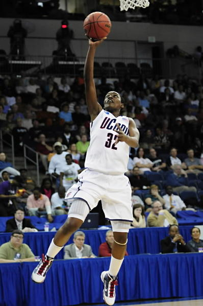UConn Women's Basketball wins their sixteenth Big East Championship. The Huskies went on to win the national championship. (Kalana Greene goes up for a layup during a regular season game against Southern.)