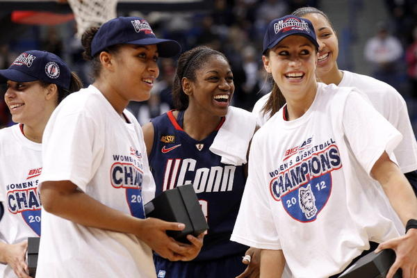 UConn Women's Basketball wins their eighteenth Big East Championship after defeating Notre Dame 63-54. Here is Caroline Doty, Tiffany Hayes, Bria Hartley, Kaleena Mosqueda-Lewis, and Kia Stokes after their victory.