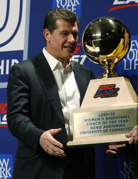 Geno Auriemma named Big East Coach of the Year. That year Auriemma led the team to a national championship.