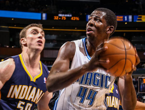 Magic forward Andrew Nicholson (44) drives against Indiana's Tyler Hansbrough (50) during fourth quarter action of a game against the Indiana Pacers at Amway Center in Orlando, Fla. on Wednesday January 16, 2013.
