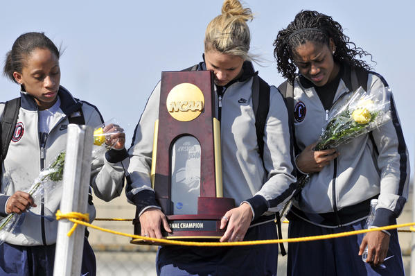 UConn Women's Basketball wins a National Championship for the second consecutive year. The Huskies beat Stanford 53-47 to win their eighth national title. Here is Lorin Dixon, Meghan Gardler and Tiffany Hayes coming home from the NCAA tournament with trophy in their hands.