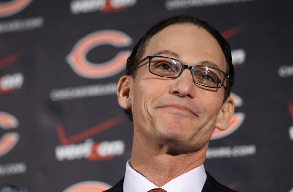 Marc Trestman is introduced as the new Chicago Bears head coach at Halas Hall in Lake Forest today.