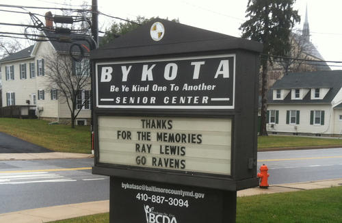 The Bykota Senior Center in West Towson shows its support for the the Ravens talismanic linebacker, Ray Lewis. Lewis announced he will retire after this season.