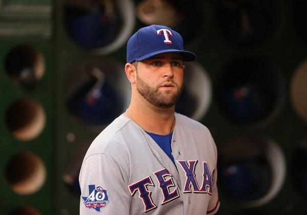 Mike Napoli with the Texas Rangers last season.