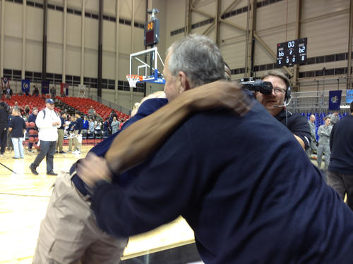 The win over Michigan State in Germany. It earned Kevin Ollie a hug from his old boss, Jim Calhoun.