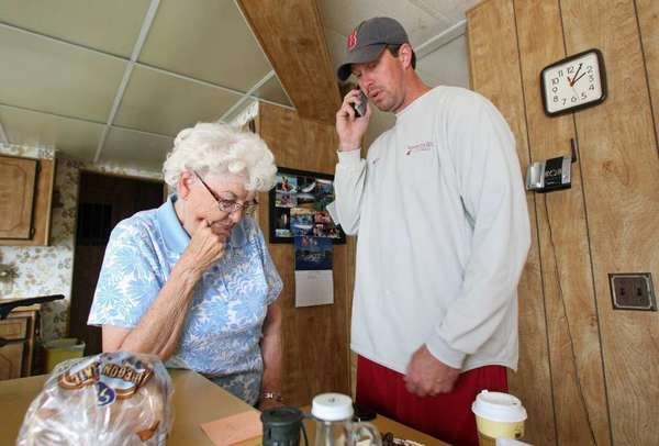 Ryan Leaf in his boyhood summer house with his grandmother in August 2010.