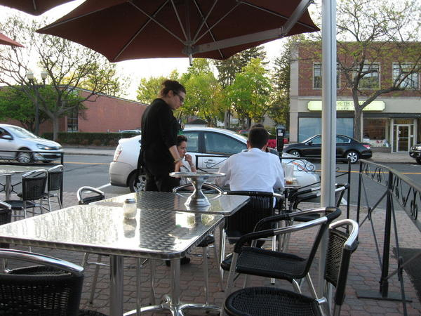 Dining outside on Farmington Avenue in West Hartford Center at  Luna Pizza.