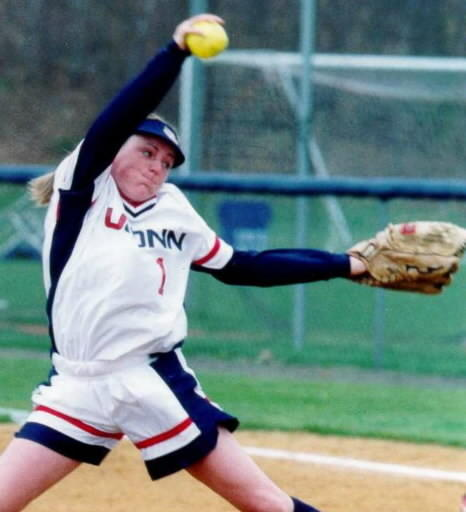 The UConn softball won the Big East Championship for four consecutive years. The Huskies added to their championships when they won Big East titles again in 1995 and 1996. Here is Barbara Cook on the mound for the Huskies.