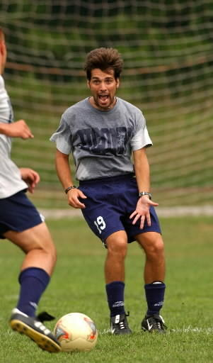 UConn Men's Soccer wins their fifth Big East Championship. Here is Rui Fernandes during practice at UConn.