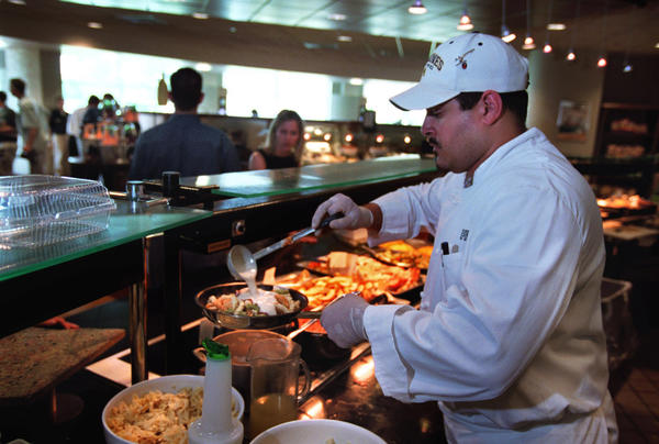 At ESPN's cafeteria, a made to order pasta dish is served from the very popular Pasta Bar.