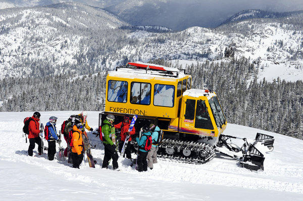 Skiers and snowboarders can hop aboard a snowcat for a day of powder skiing at Kirkwood.