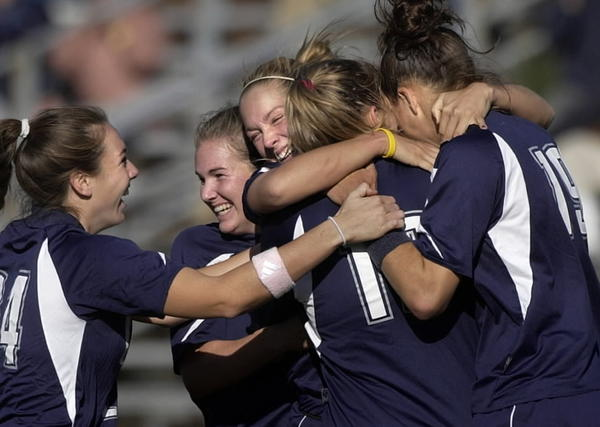 UConn Women's Soccer wins their second Big East Championship. The Huskies defeated Notre Dame 2-1. Karyn Riviere, Kristi Lefebvre, Kathleen Frank and Niki Cross celebrate after Graczyk scored the game winning goal with 5 minutes left.