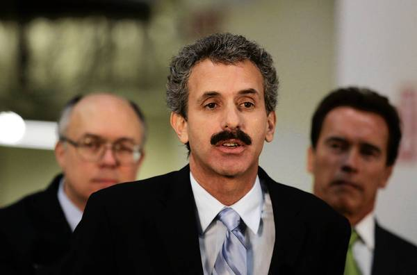 Former Assemblyman and city attorney candidate Mike Feuer, shown at a bill-signing ceremony in 2008, stands to benefit from the Police Protective League's decision not to endorse in the race.