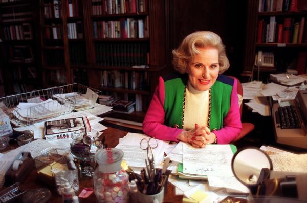 "Pauline Friedman Phillips, author of ""Dear Abby,"" in her home office in 1998."