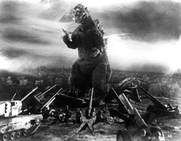 "A scene from the original ""Godzilla"" in 1954."