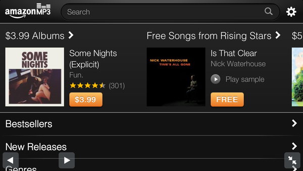 A screenshot of the new Amazon MP3 Store for the iPhone and iPod Touch, taken on an iPhone 5.