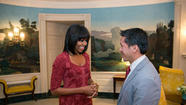 "First Lady Michelle Obama turned 49 on Thursday and celebrated with a new hairstyle, a glamorous sleek pageboy featuring bangs. Mrs. Obama's office also debuted a new Twitter handle, @FLOTUS, and tweeted a photo of her sporting the 'do as she met with David Hall, one of eight citizen co-chairs for Monday's inauguration. <a href=""https://twitter.com/FLOTUS/status/291999764973756416/photo/1"">[Twitter.com/FLOTUS]</a>"