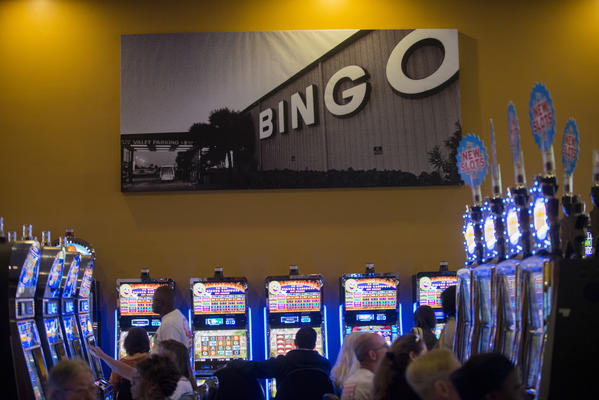 A photo of the old bingo hall hangs in the casino at the Seminole Casino Classic in Hollywood during the Classic Casino Loosest Slots Celebration.