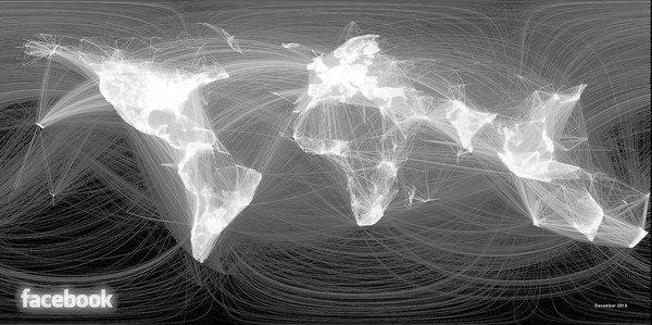 Map of the world generated by Facebook connections.