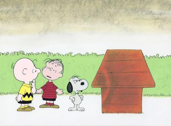 "A hand-painted background from the 1979 film, ""Charlie Brown Clears the Air."""