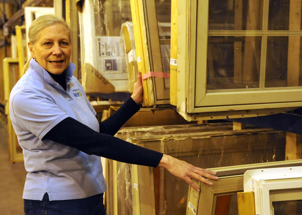 Habitat Lehigh Valley ReStore manager Janet Kolepp stands near windows that they will sell at the store. Habitat for Humanity Lehigh Valley will open the retail store at 1053 Grape Street in Whitehall inside part of the former Circuit City. The store will offer customers used/new items for their homes at bargain prices and benefit Habitat for Humanity.