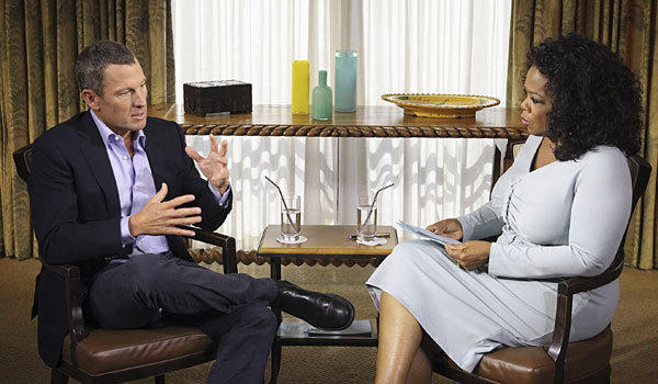 Lance Armstrong talks to Oprah Winfrey during his interview.