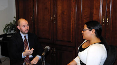 State Rep. Carl Walker Metzgar, R-Allegheny Township, talks to Daily American reporter Amber Rosado during the first episode of Daily American Live.