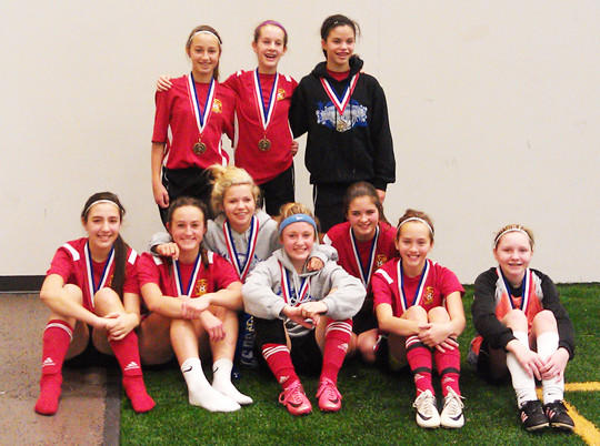 The Hub City Soccer Club U14 indoor team recently took first place in the 2012 Dakota Alliance Soccer Club's sixth annual Winter Games in Sioux Falls. Back row, from left: Brittney Senger, Hillary Mantone and Jadyn Brandon. Middle row, from left: Sophie Schriver and Nico Jung. Front row, from left: Emily Schock, Bailey Tollefson, Allie Zueger, Eden Schanzenbach and Skya Jandt.
