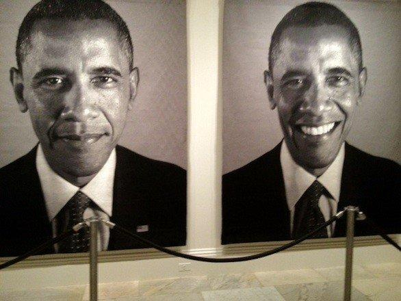 Two huge portraits of President Obama on display at the National Portrait Gallery.