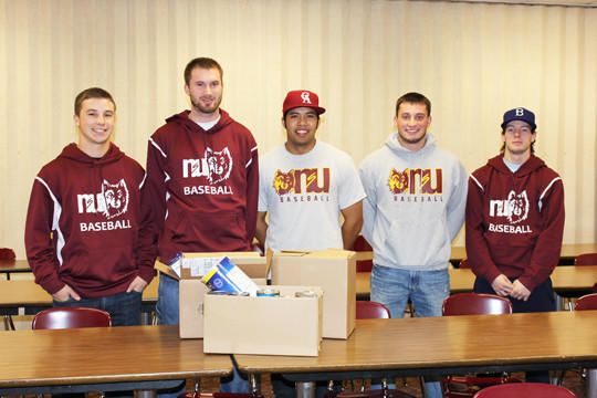 For the third straight year, the Northern State University baseball team coordinated an intra-squad food drive, donating all items to Safe Harbor. From left are Riley Ayers, Nathan Nietfeld, Robbie Rocamora, Cameron Lehner and Nick Granton.