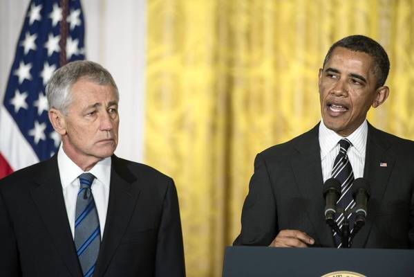 President Obama on Jan. 7 announces his nomination of former Nebraska Sen. Chuck Hagel, a Vietnam War veteran, as defense secretary.