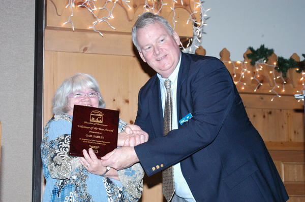 Gail Farley won the Volunteer of the Year Award this year at the annual meeting of the Boyne Area Chamber of Commerce.