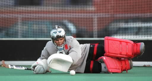 UConn Field Hockey wins their fourth Big East title after defeating Providence in the championship game. During the 1999 season the huskies had a perfect 21-0 record during the regular season. Here is the huskies goalie Danielle Vile during a practice before an NCAA game.