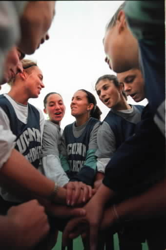 UConn Field Hockey wins their third Big East title in 1998. Here is the team during a practice before the NCAA tournament.