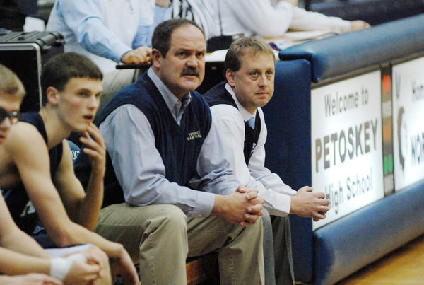 Petoskey High School boys' basketball coach Dennis Starkey (middle) and the undefeated Northmen will face Alpena today, Friday, in a Big North Conference contest. Petoskey is in search of a 49th consecutive home win as they'll host the 5-2 Wildcats.
