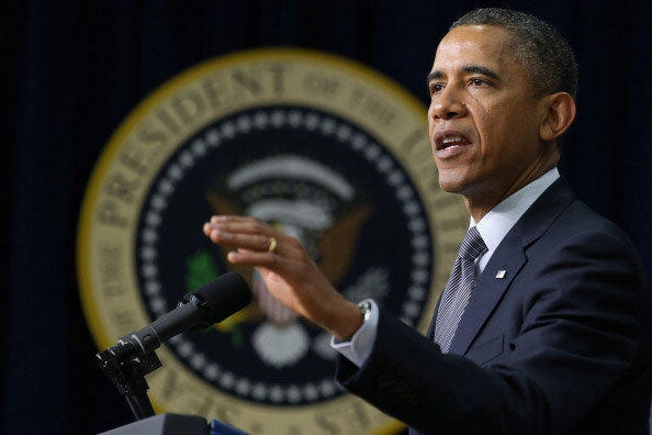 U.S. President Barack Obama announces his administration's new gun law proposals in the Eisenhower Executive Office building January 16, 2013 in Washington, DC.