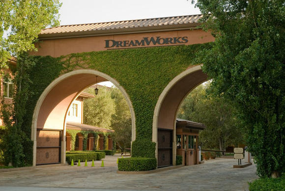 Above, the front gates of DreamWorks' campus in Glendale.