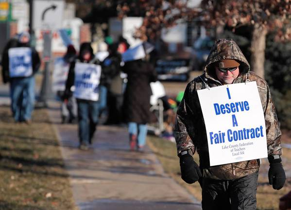 Teachers in Grayslake picket Wednesday morning.