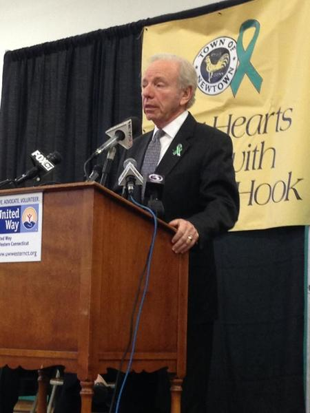 """Former Senator Lieberman speaking at press conference about Sandy Hook tragedy,""""I can't think of anything worse that has happened in CT in my life than what happened in Newtown."""""""