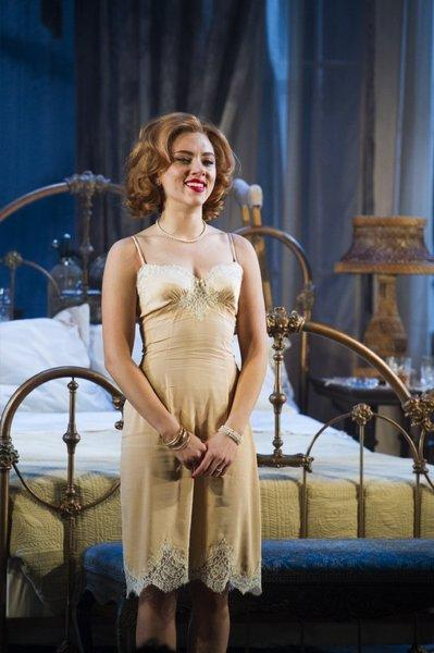 """Scarlett Johansson during curtain call at the end of Thursday's Broadway opening night performance of """"Cat on a Hot Tin Roof."""""""
